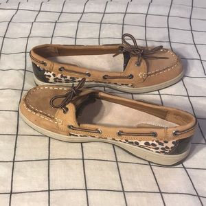 Natural soul slip on leather cheetah boat shoe